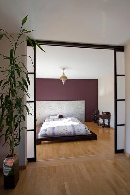 Schiebetüre als Schlafzimmer Raumteiler im Japanischen Stil Jona 1
