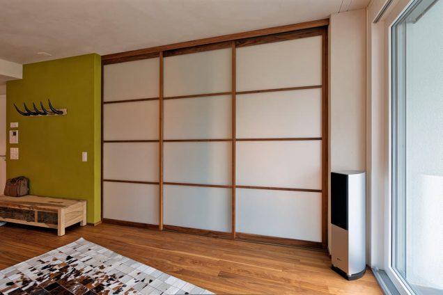 Acrylglas-VSG-ESG | Schiebetüren im Japanischen Stil mit Massivholzrahmen in Eiche Davos 0