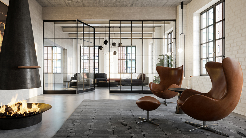 Axis Pendeltüre als Raumteiler perfekt für offene Wohnkonzepte