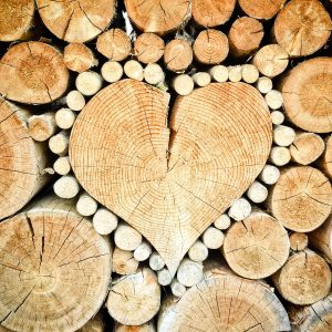 heart, wood, logs